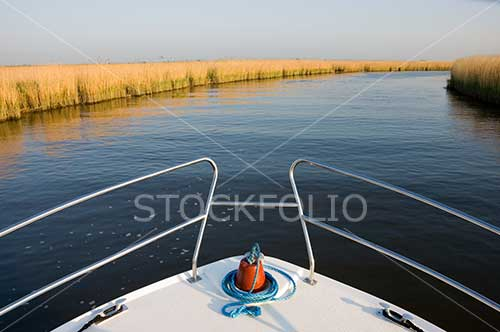 Bow of a boat on the River Bure, Norfolk Broads