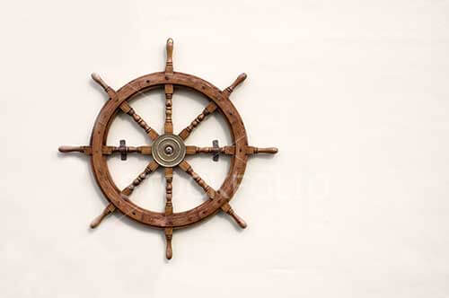 Ships wheel on a background