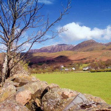 Snow topped Grasmoor seen from the village of Buttermere