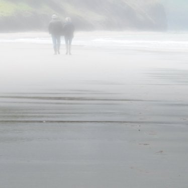 Couple walking a long a misty beach