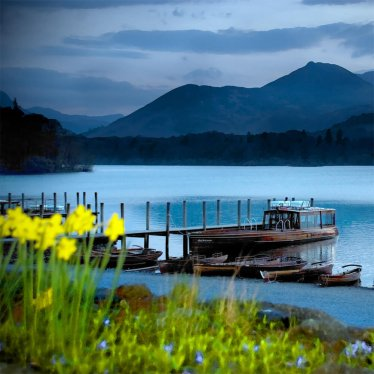 The boat landings at Keswick on Derwentwater at dusk