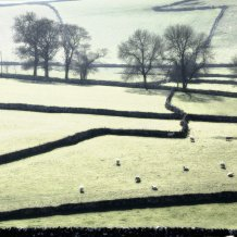 Field patterns on a frosty morning in the Peak District