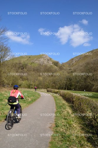 Cyclist on the Manifold Trail in the Peak District