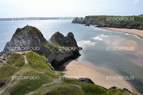 Three Cliffs Bay and beach on Gower Peninsular in Wales