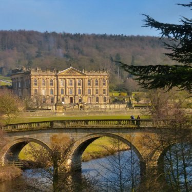 Chatsworth House and Bridge, River Derwent