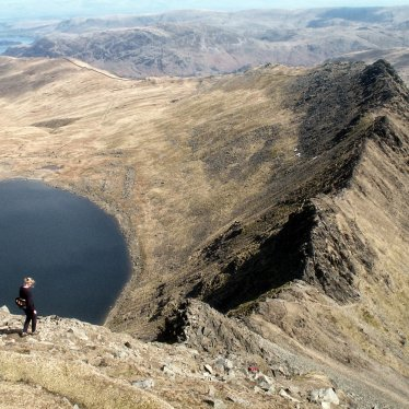 Young Woman descending Striding Edge on Helvellyn